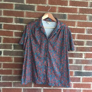 Vintage Teal and Red Floral Button Down Blouse